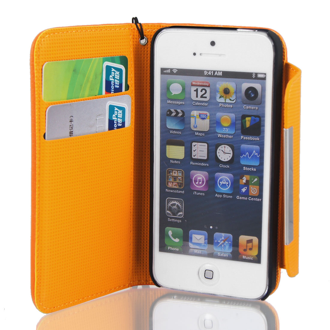Orange Faux Leather Magnetic Flip Case Cover Pouch Protector for iPhone 5 5G