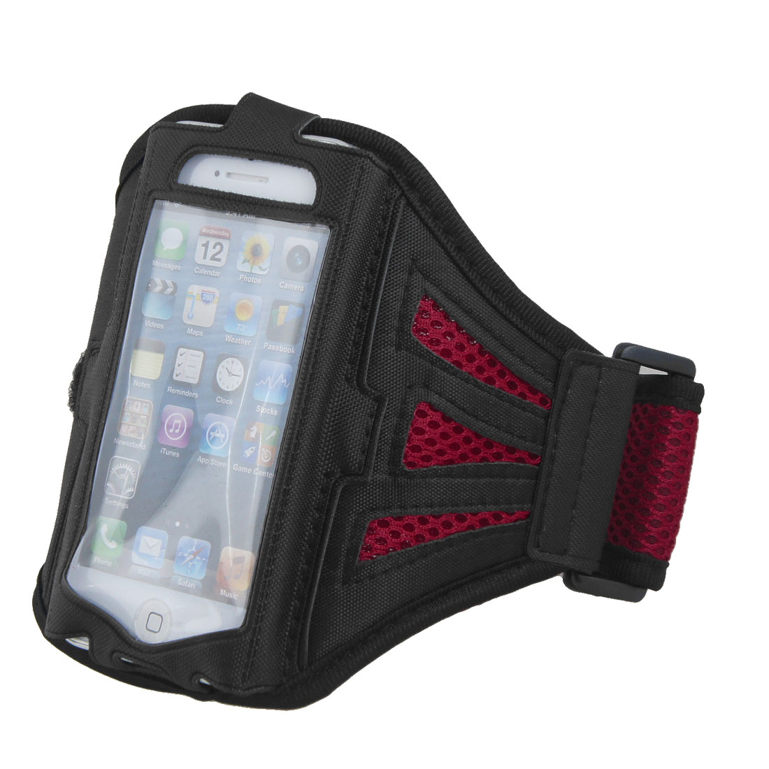 Red Mesh Running Yoga Sport Gym Armband Case Cover Pouch Holder for Phone