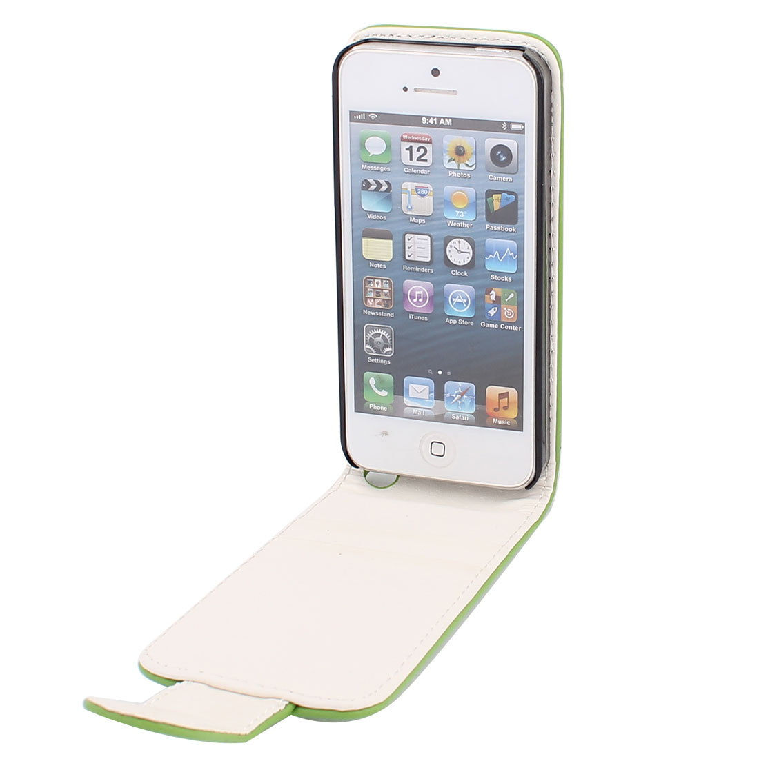 Flip Faux Leather Case Cover Vertical Pouch Olive Green for iPhone 5 5G