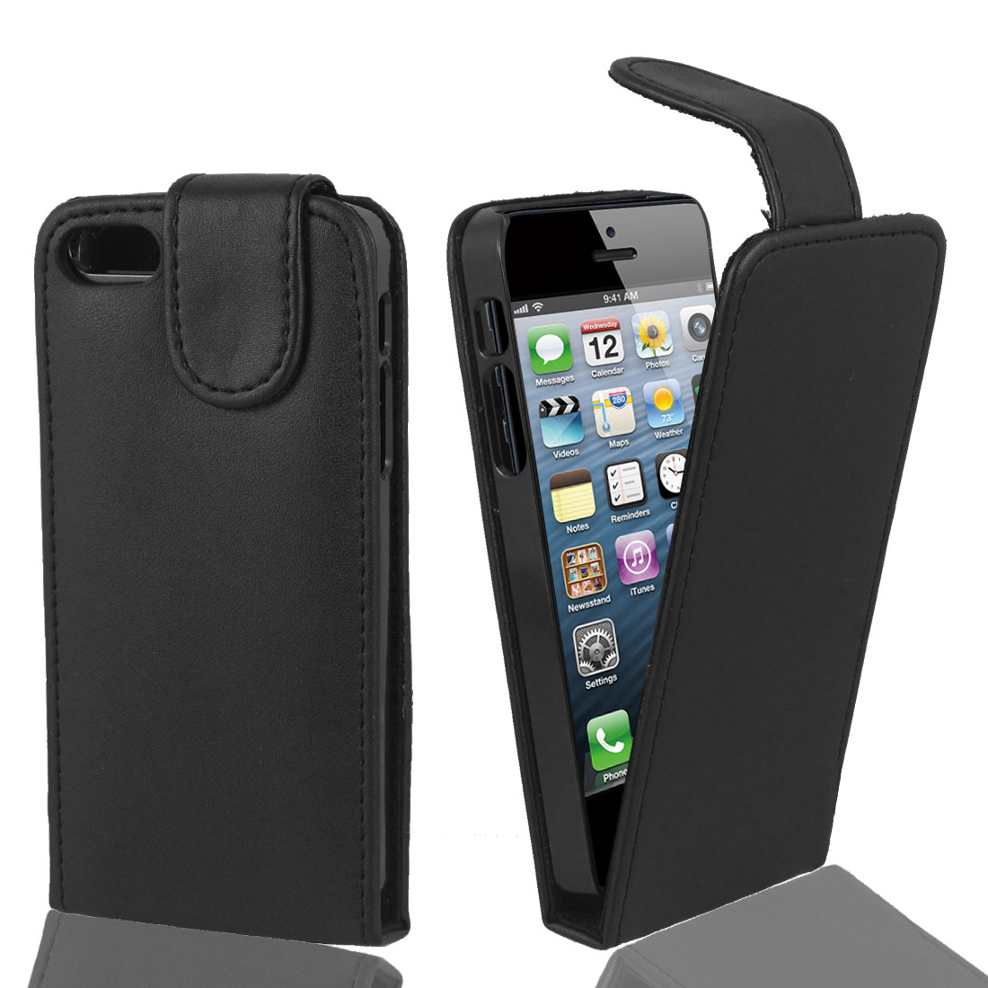Magnetic Flip Faux Leather Case Cover Pouch Black for iPhone 5 5G