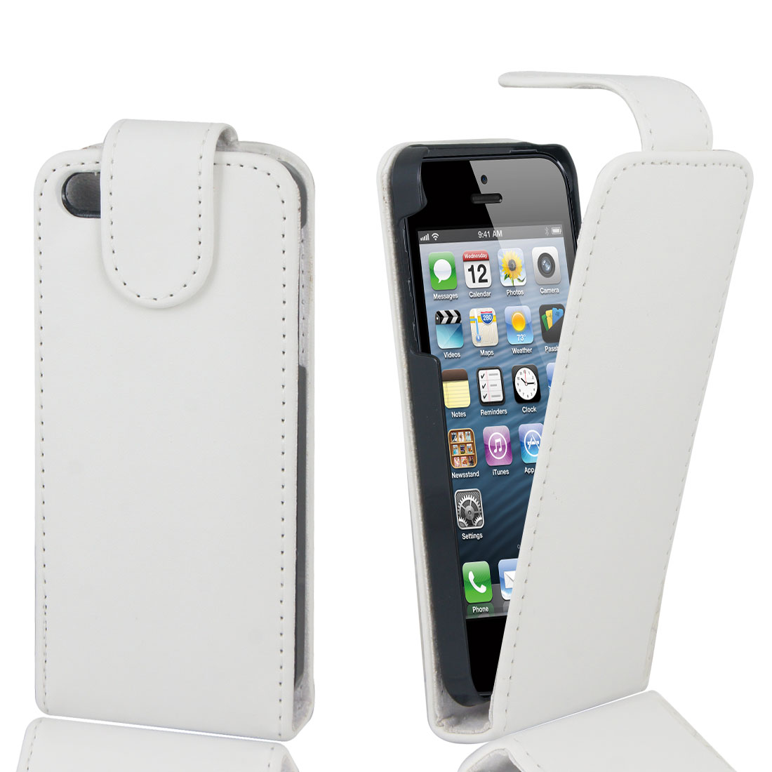 Magnetic Flip White Faux Leather Case Cover Pouch for Apple iPhone 5 5G