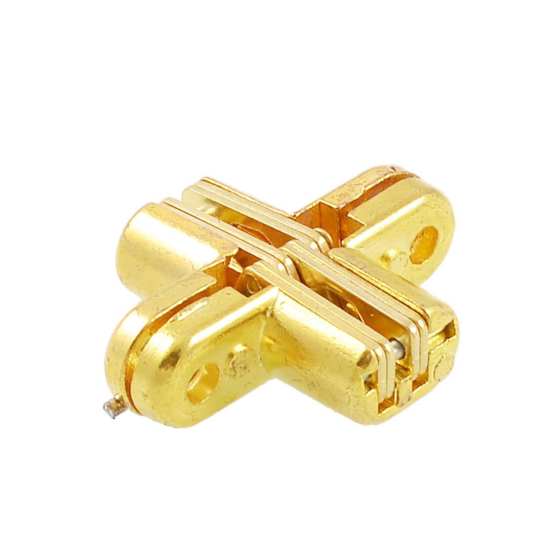 Furniture Metal Cross Hinge Gold Tone for Folding Slideing Door