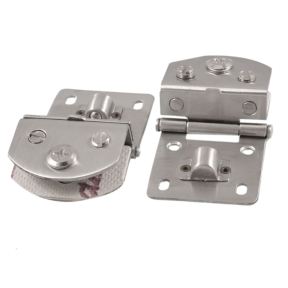 2 Pcs Cabinet Glass Door Wall Mounting Metal Hinge Silver Tone