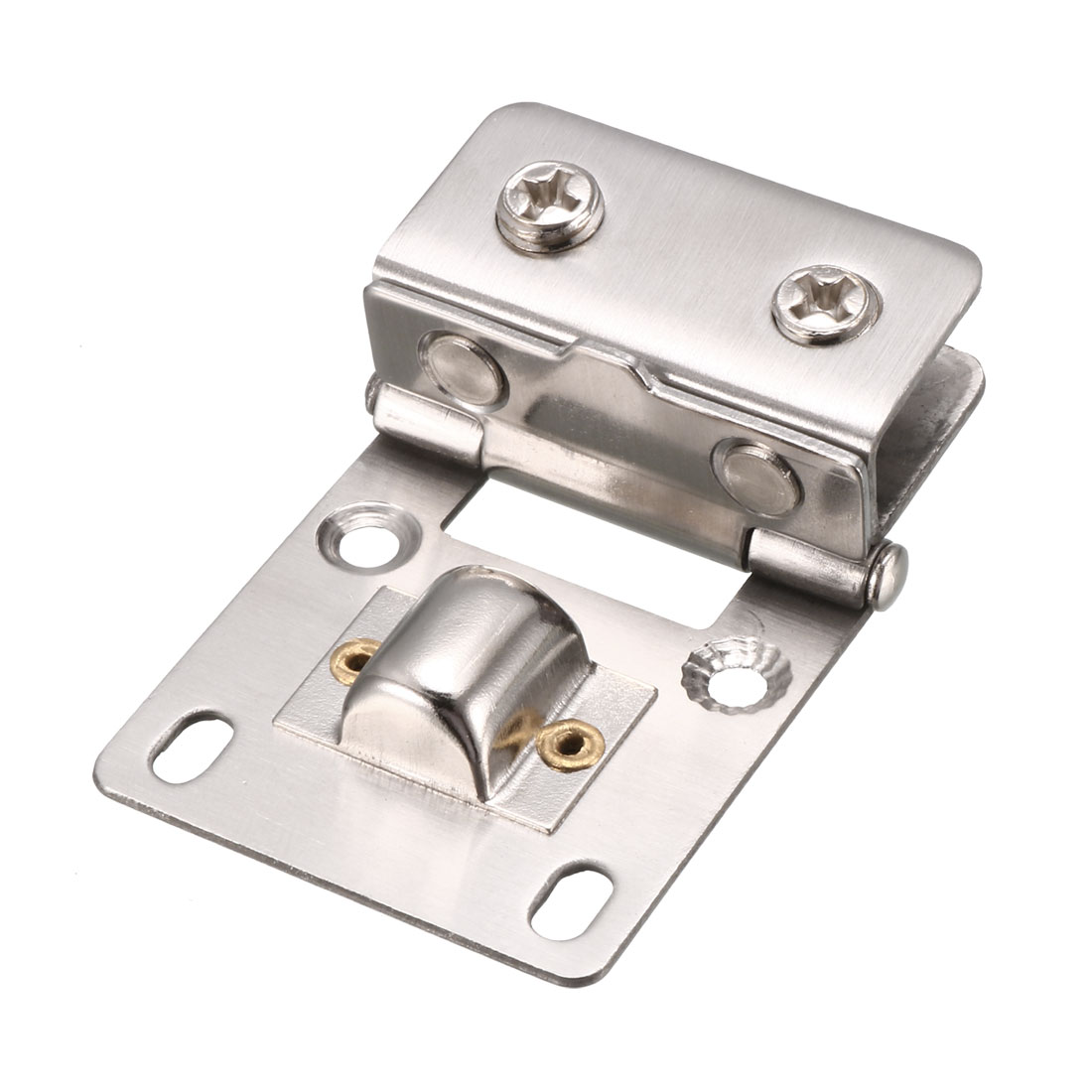 2 Pcs Cabinet Glass Door Wall Mounted Metal Hinge Silver Tone