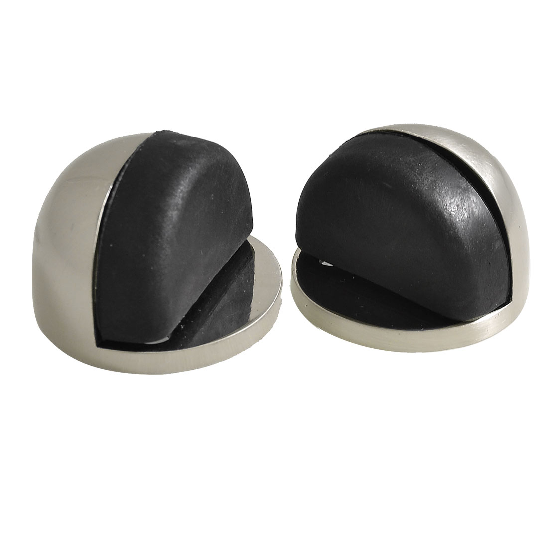 Stainless Steel Plastic Round Base Floor Mount Door Stoppers 2 Pcs