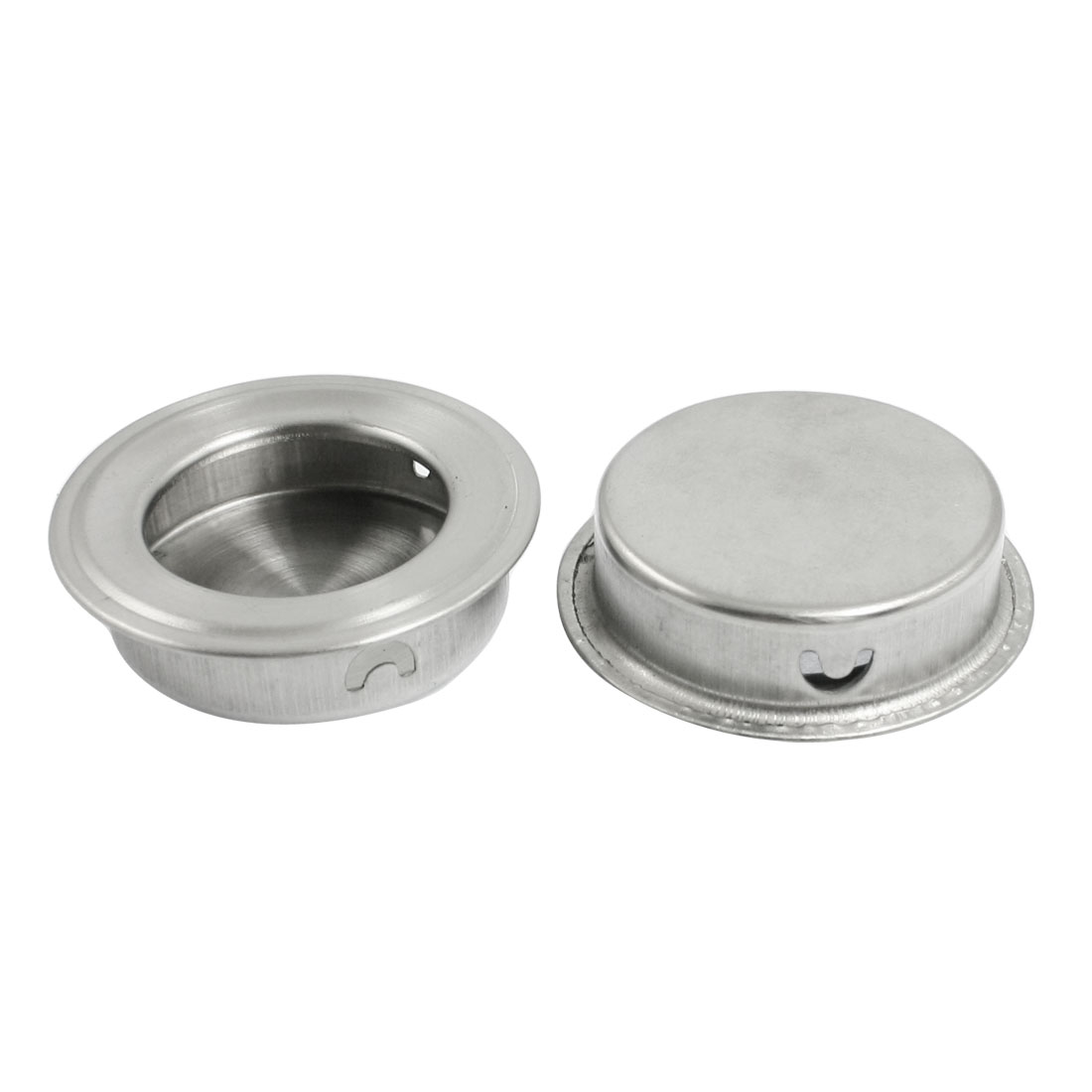 Silver Tone Round Shaped Mount Cabinet Door Pull Handle 2 Pcs