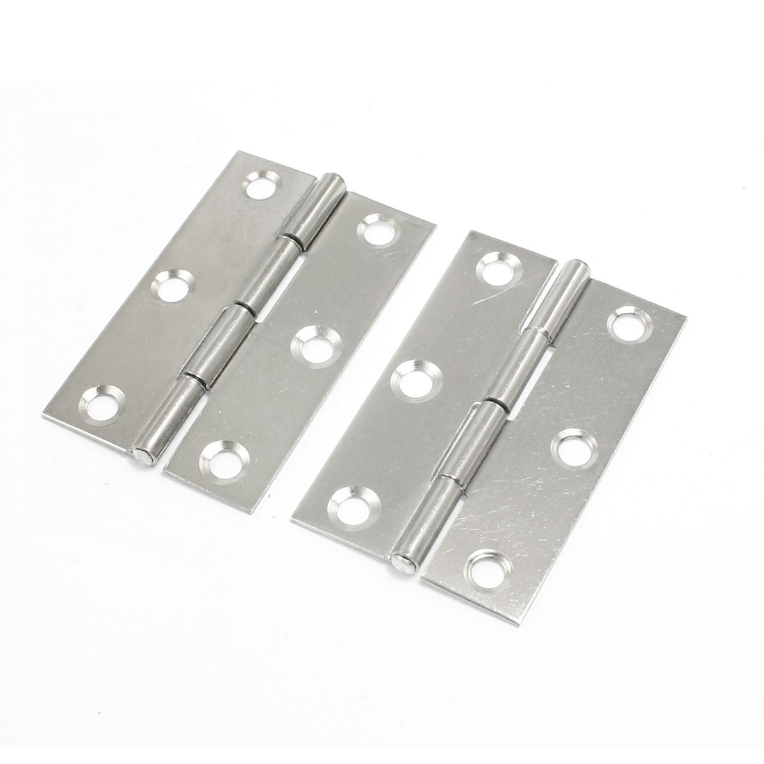 "2.1"" 6 Mounting Holes Door Butt Hinges Silver Tone 2 Pcs"