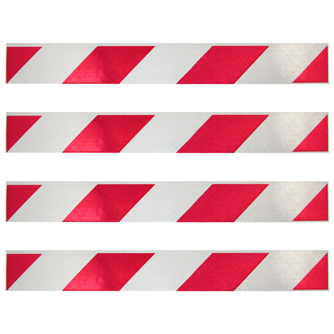 4 x Auto Decor White Red Gleamy Stripes Printed Reflective Stickers