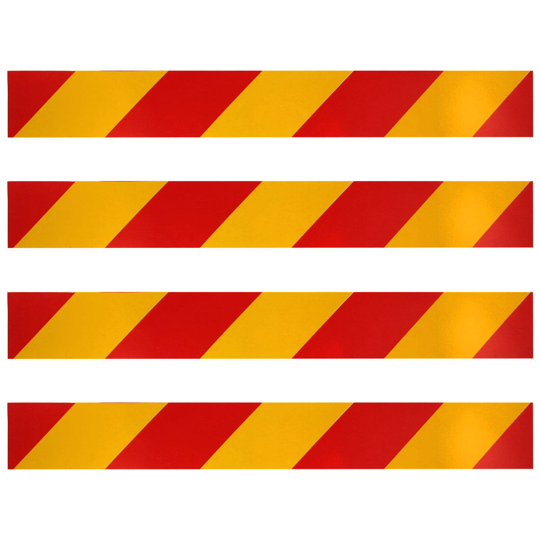 40cm x 5cm Striped Print Car Reflective Stickers Decals Yellow Red 4 Pcs