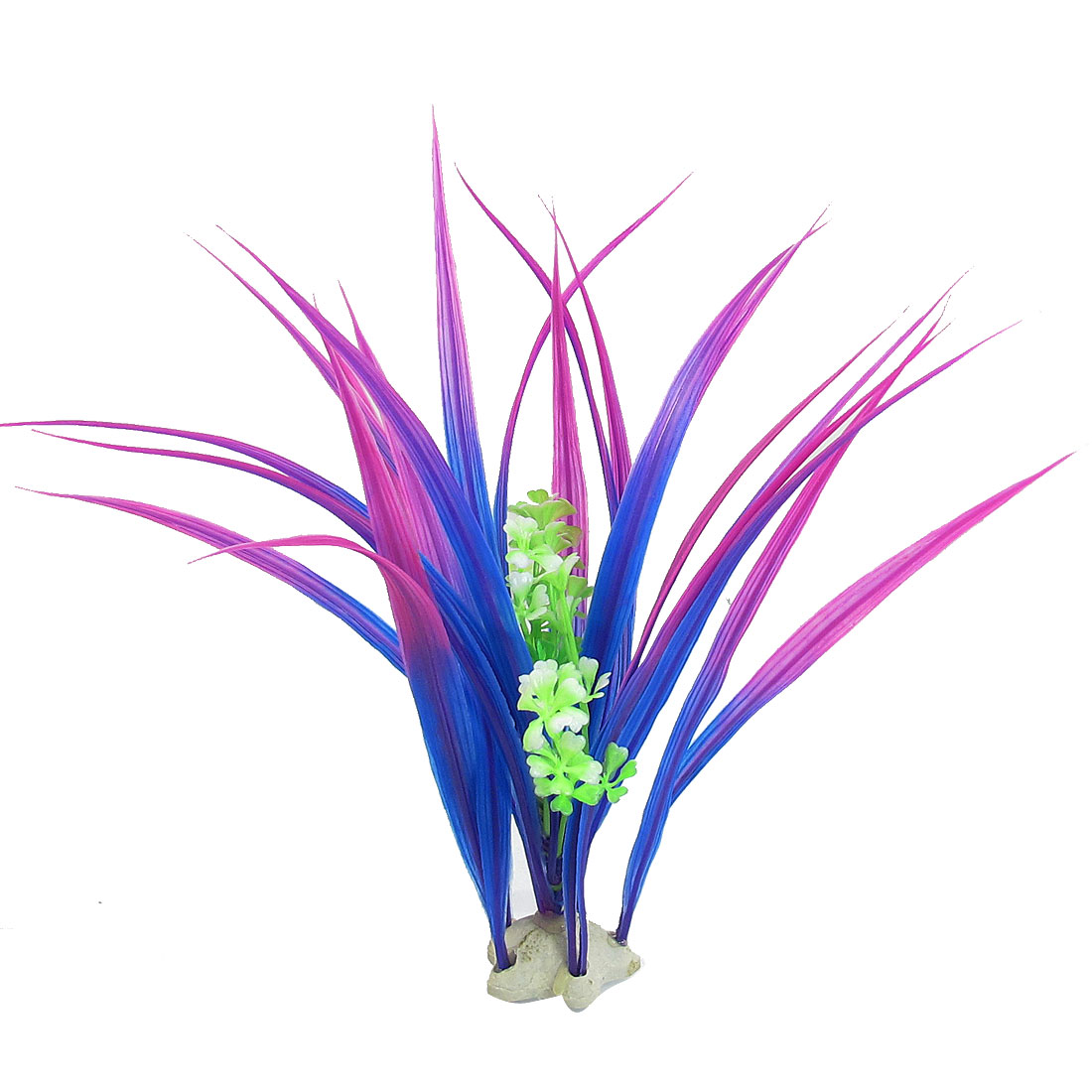 "9.8"" x 2.8"" Green Purple Manmade Plants Fish Tank Ornament w Star Base"