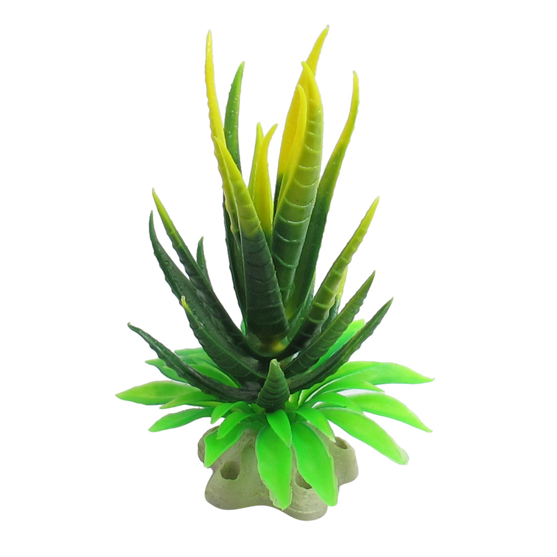 Aquarium Decor Star Shape Base Yellow Green Plastic Plant 4.7""