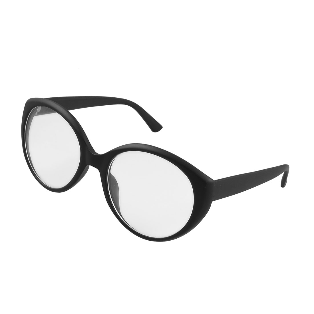 Black Plastic Arms Full Frame Round Clear Lens Glasses Spectacles for Women