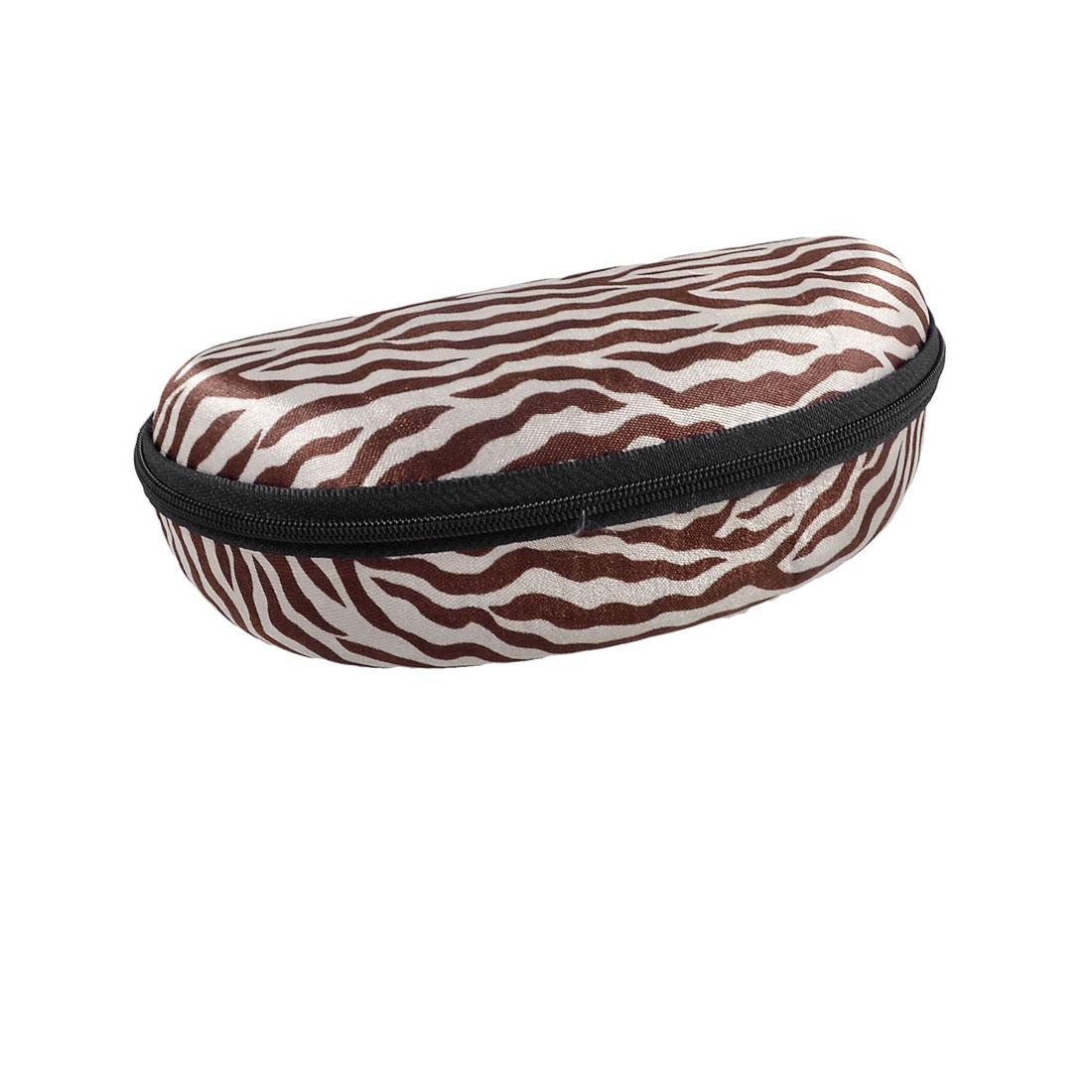 Brown Gray Zebra Stripes Black Zippered Flannel Lining Eyeglasses Case Box