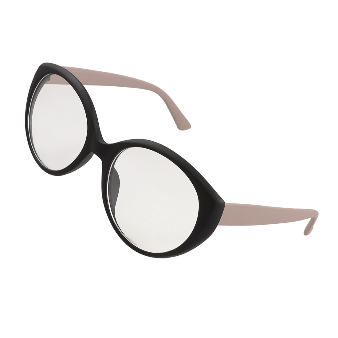 Round Plano Lens Pale Pink Black Plastic Temples Rimmed Spectacles for Women