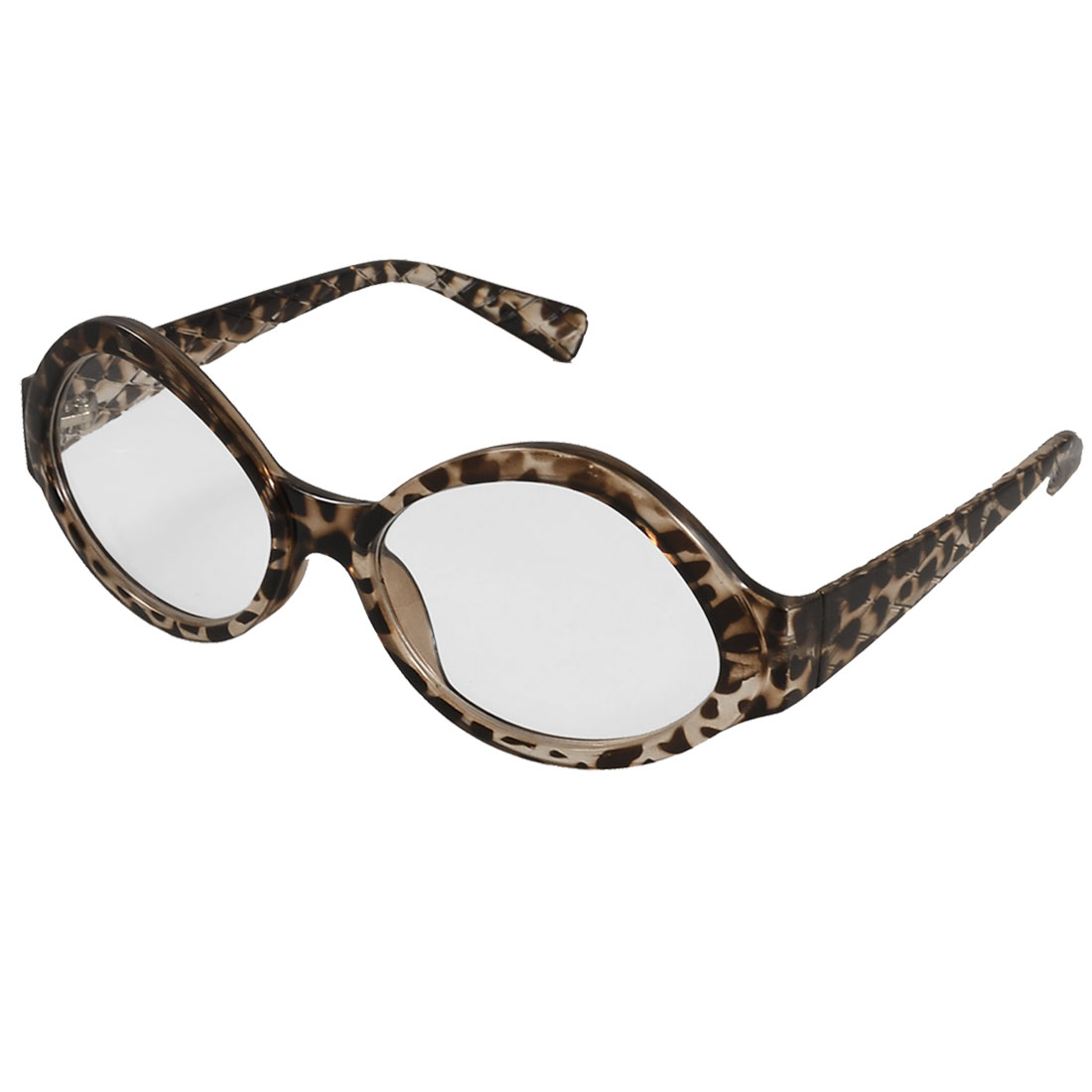 Woman Clear Brown Leopard Pattern Plastic Full Frame Round Clear Lens Plano Glasses