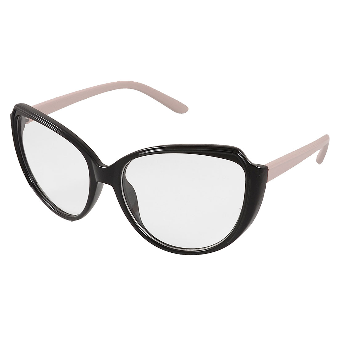 Lady Light Pink Black Plastic Single Bridge Clear Lens Plano Glasses