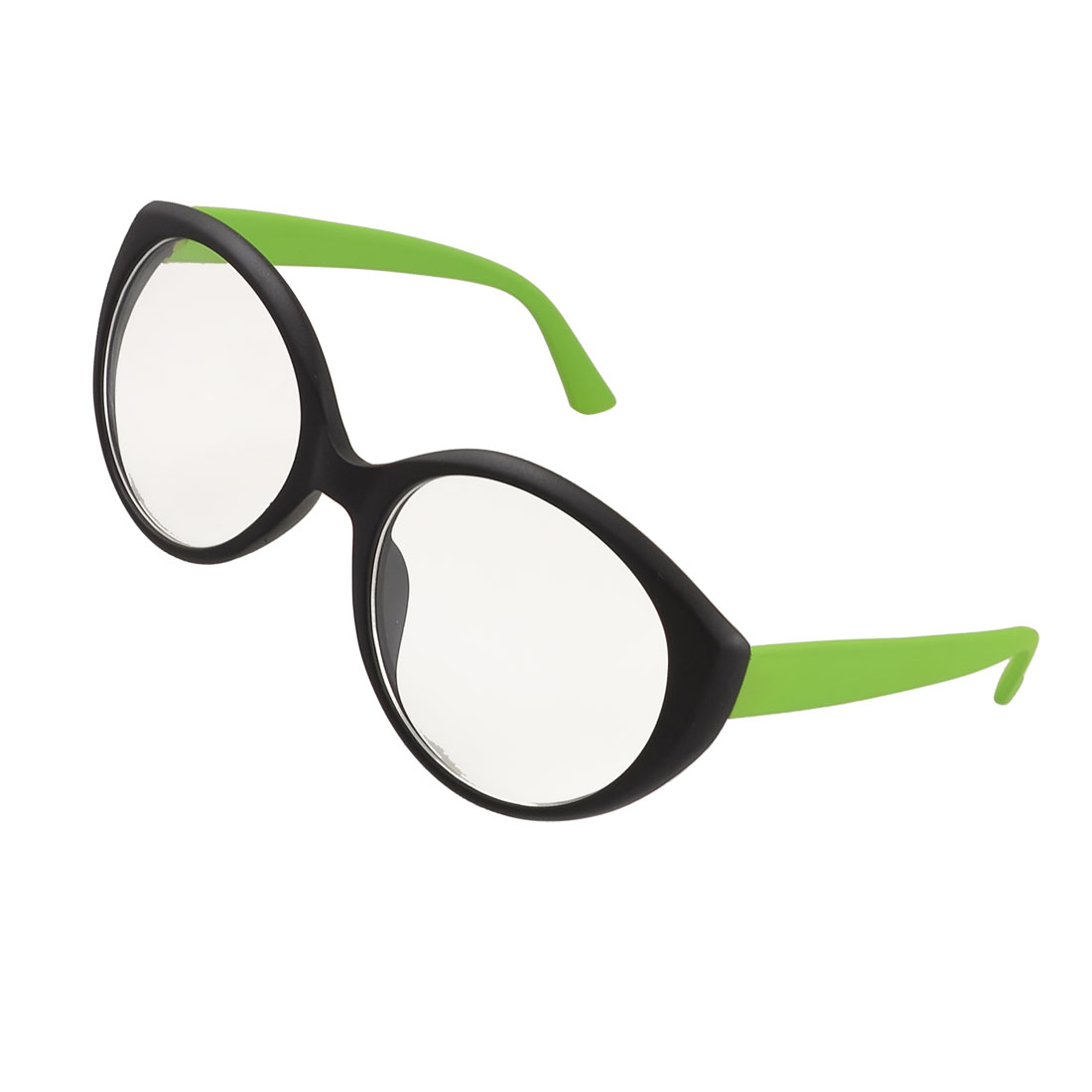 Round Plano Lens Green Black Plastic Temples Rimmed Spectacles for Women