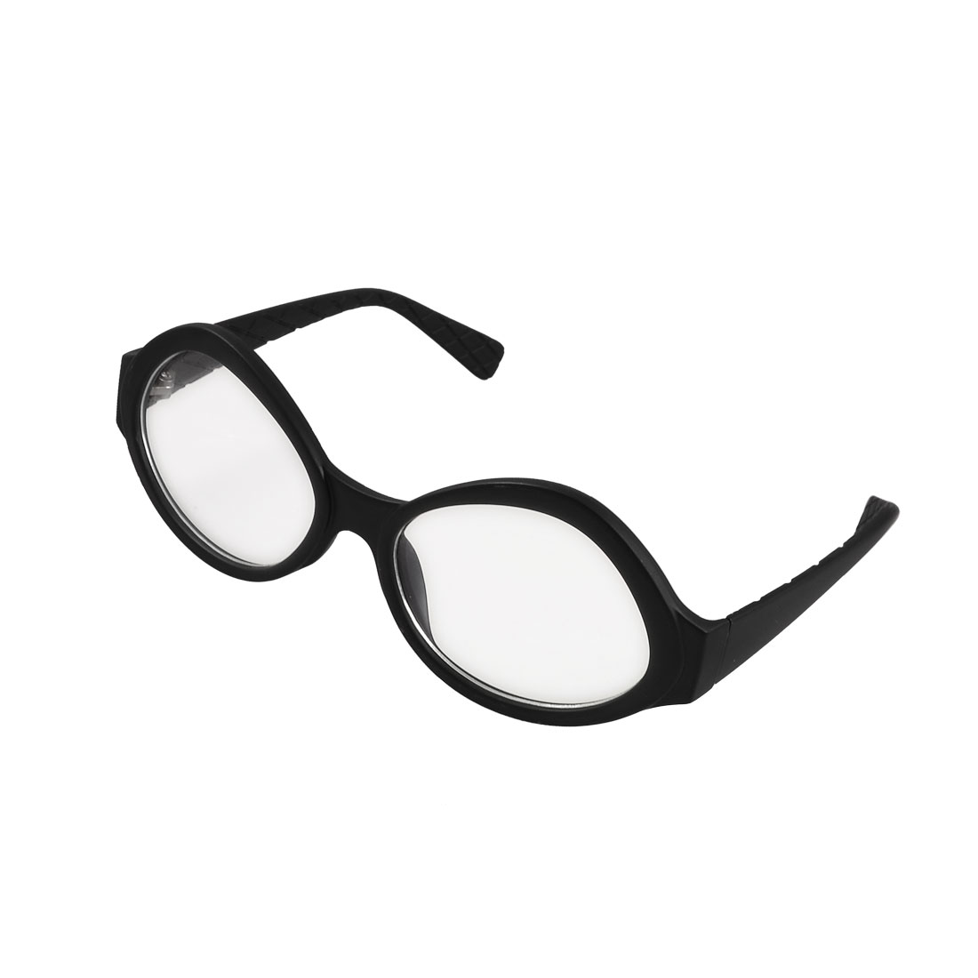 Round Black Plastic Temples Rimmed Multi Coated Lens Spectacles for Lady Woman