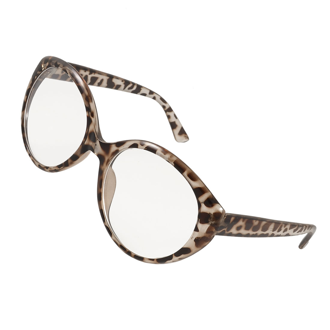 Clear Brown Leopard Print Plastic Single Bridge Full Rim Lens Plain Glasses for Girl