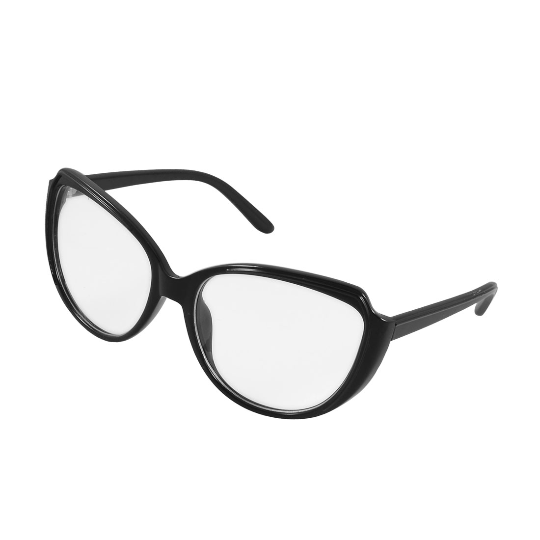 Women Black Plastic Single Bridge Elliptic Lens Plain Glasses