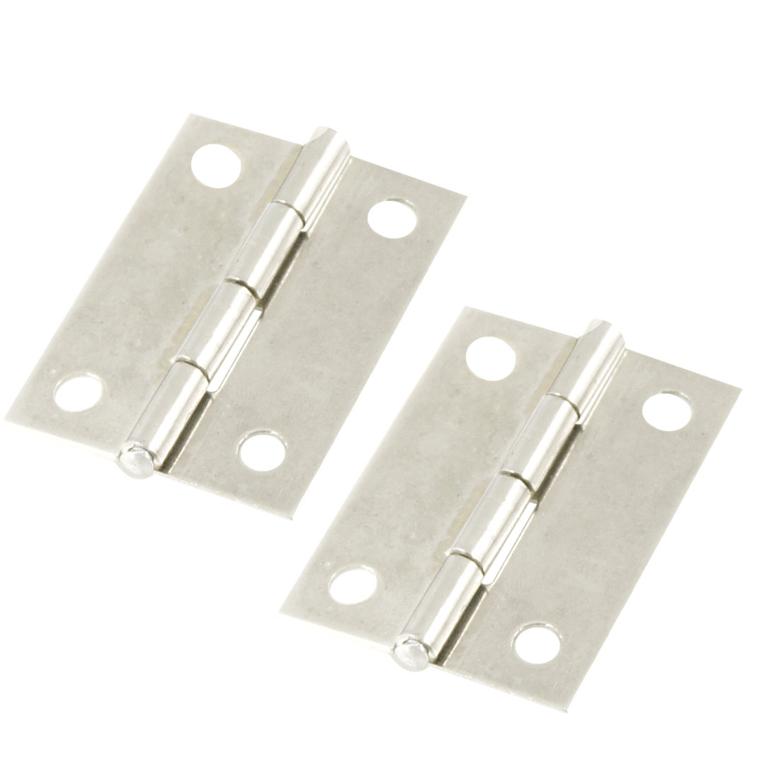 2 Pcs Silver Tone Stainless Steel Cabinet Door Butt Hinges 1.5""