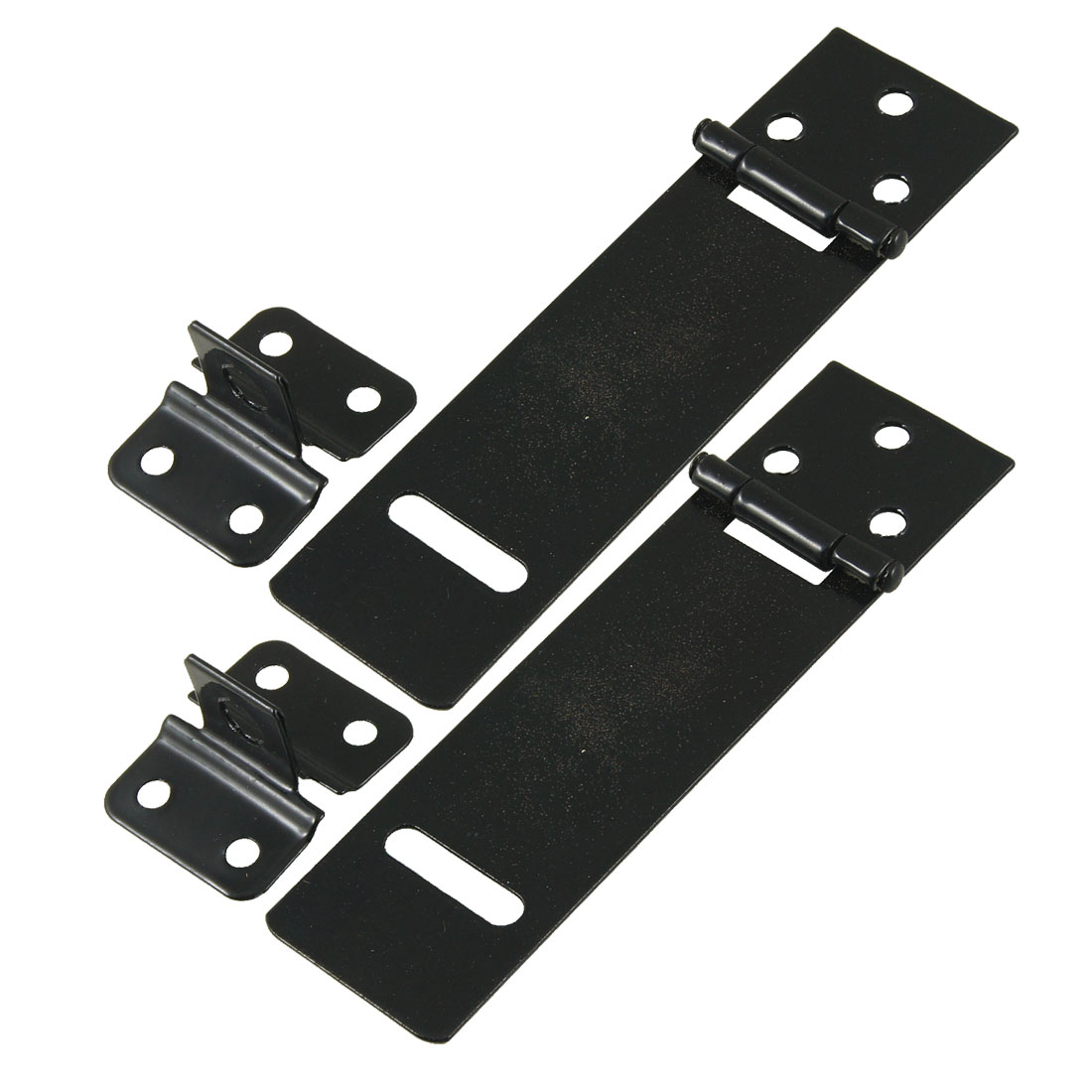 "Replacement Padlock Door Cabinet Mate Black 4.7"" Metal Hasp Staple 2 Set"