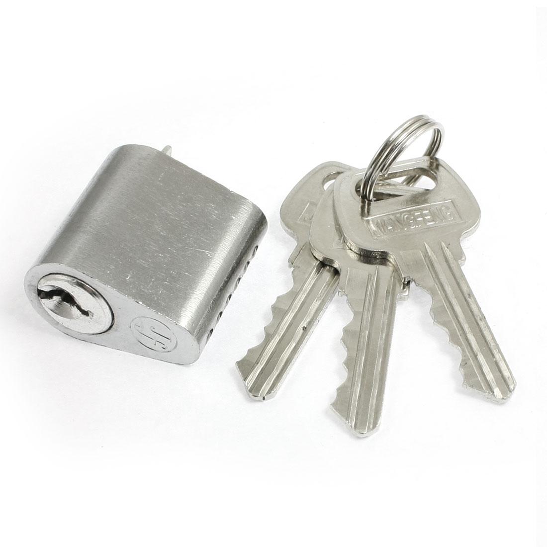 Silver Tone Metal Screw Cross Keyway Security Lock Key Cylinder w 3 Keys