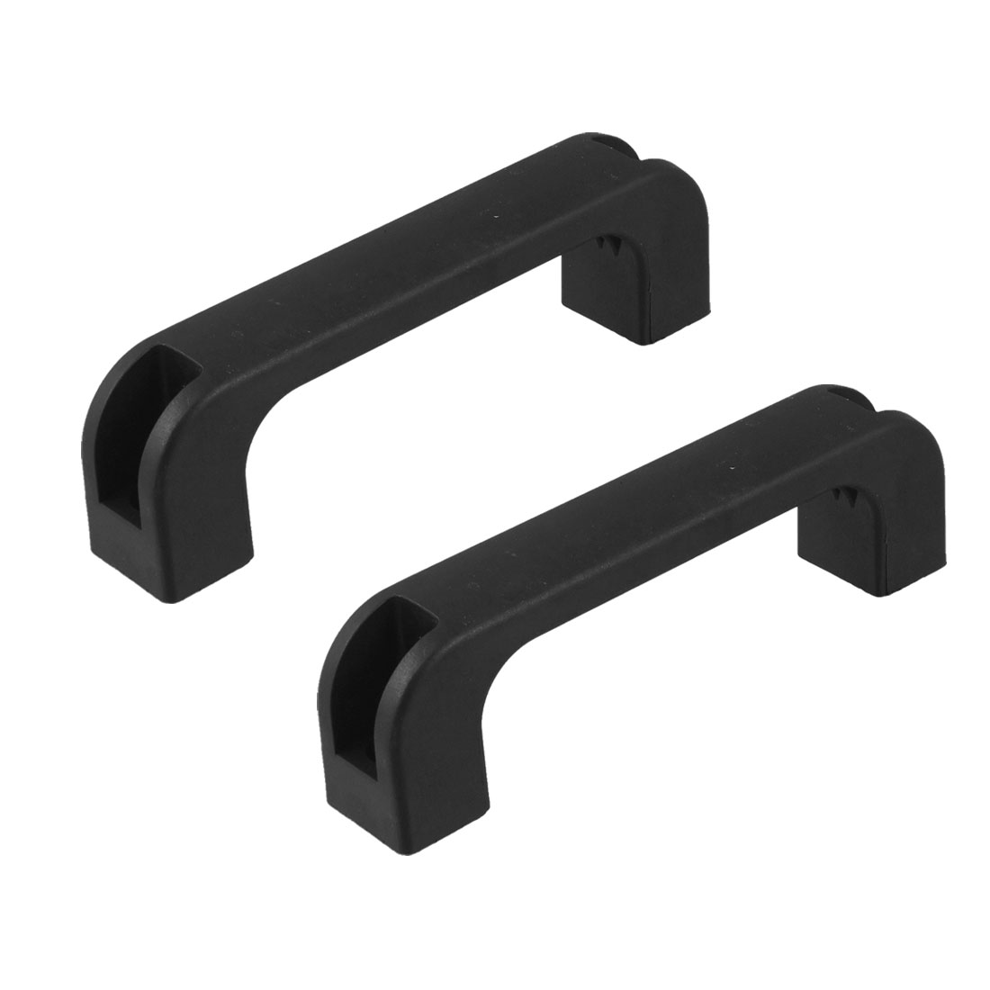 2 Pcs Cabinet Drawer D Shape Plastic Pull Handle Knob Black 5.2""