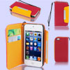 Red Faux Leather Magnetic Flip Protective Pouch Case Cover for iPhone 5 5G