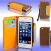 Brown Faux Leather Magnetic Flip Protective Case Pouch for iPhone 5 5G