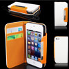 White Faux Leather Flip Case Cover Pouch Wallet for Apple iPhone 5 5G