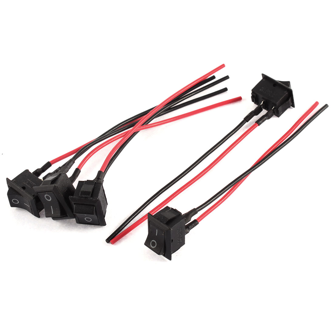 5 x on/off Rectangular DIY Auto Car Rocker Switch Wire AC 250V/6A 125V/10A