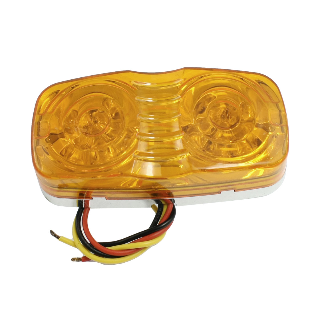Thread Mount 3 Wires Yellow 12 LED Car Trailer Bumper Side Marker Light Lamp