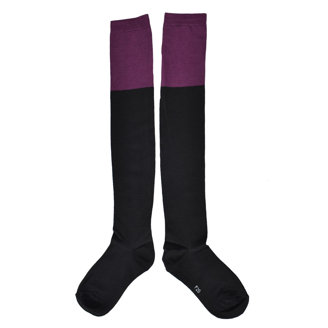 Lady Black Purple Pure Over Knee High Socks Stockings