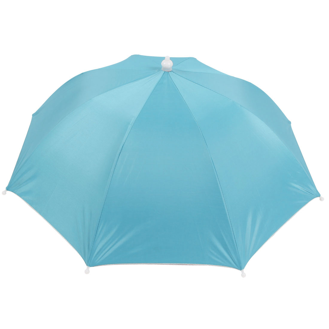 Steel Blue Silver Tone 8 Ribs Fishing Golfing Sun Rain Umbrella Hat Cap