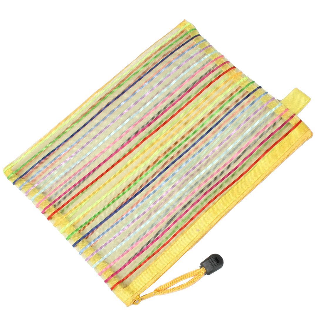 Stripe Pattern Gridding Bag A5 Paper File Folder Organizer Yellow w Strap