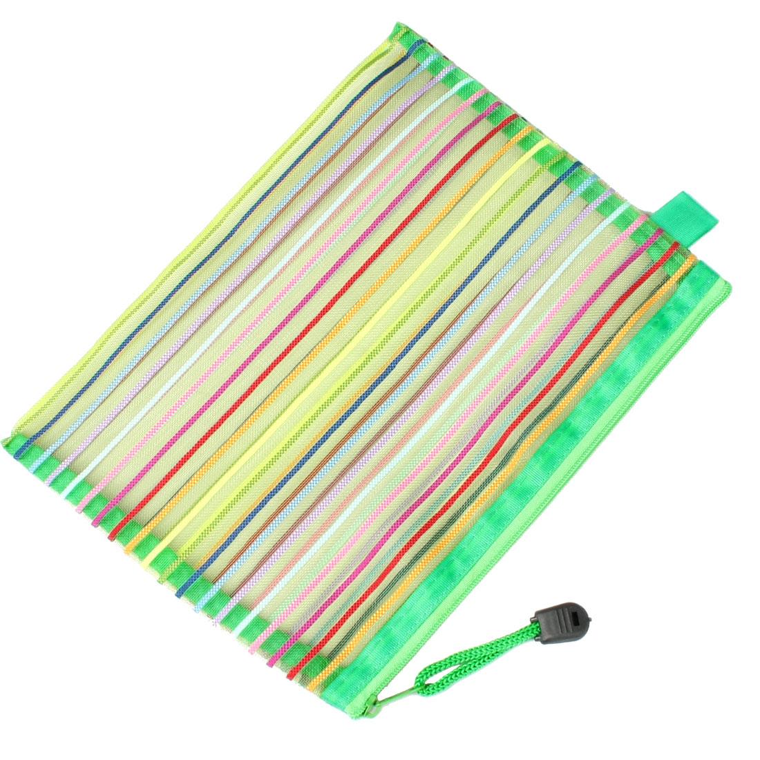 Stripe Pattern Gridding Bag A5 Paper File Folder Organizer Green w Strap