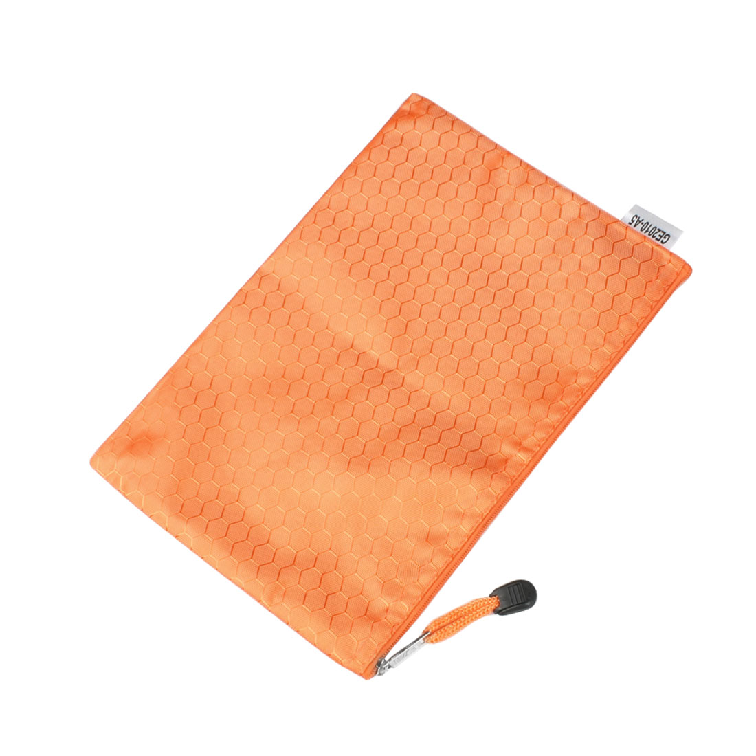 Portable Hex Pattern Water Resistant A5 Paper File Folder Pouch Bag Orange