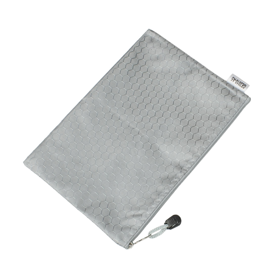 Gray Zipper Closure Nylon Hexagon Printed A5 Paper Files Bags Holder
