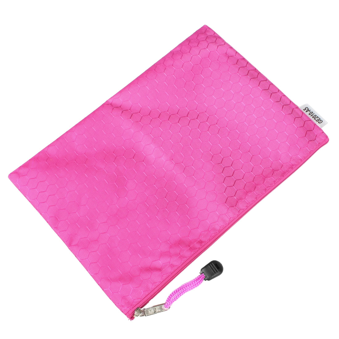 Hex Pattern Water Resistant A5 Paper Doucument File Pen Bag Folder Fuchsia