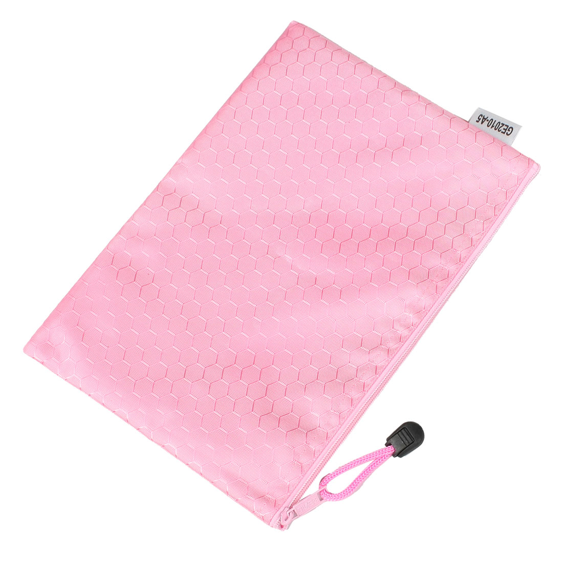 Pink Portable Hex Pattern Water Resistant A5 Paper File Folder Pouch Bag