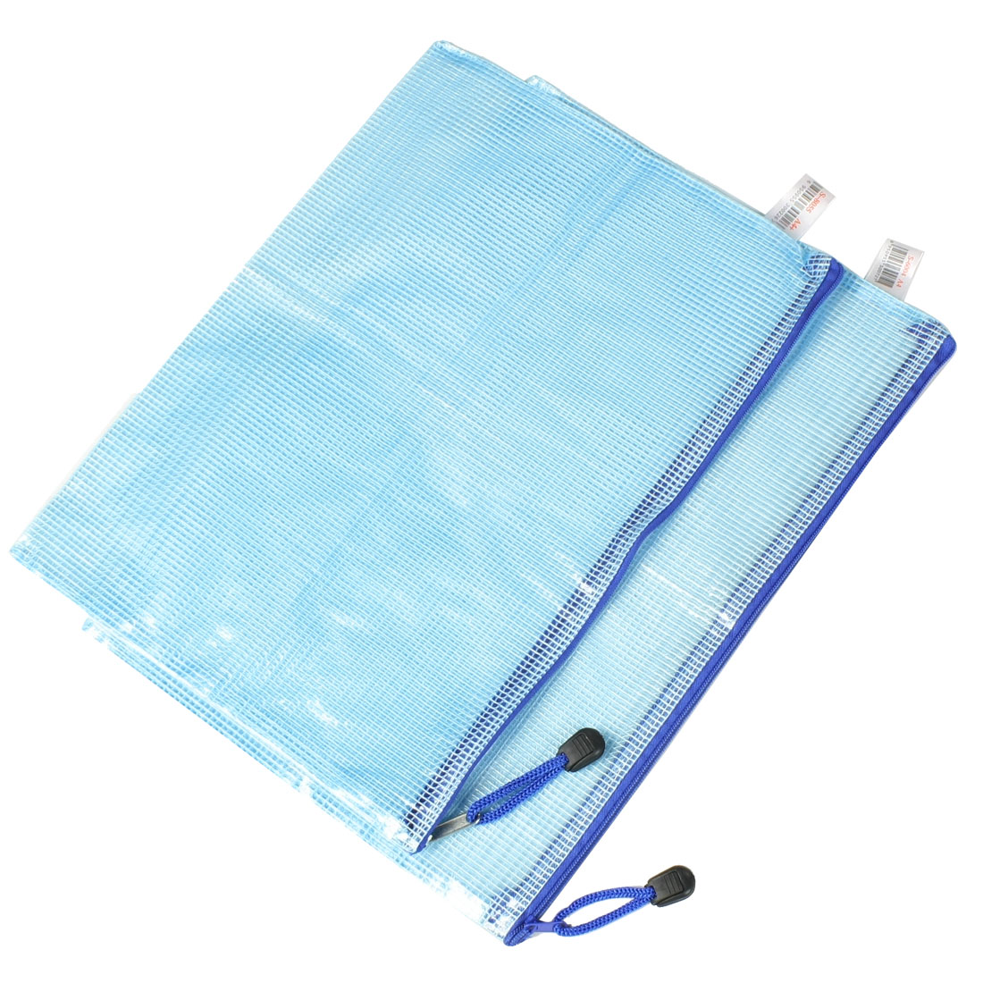 Blue Soft Plastic Zip Closure A4 Paper Document Files Bags 2 Pcs