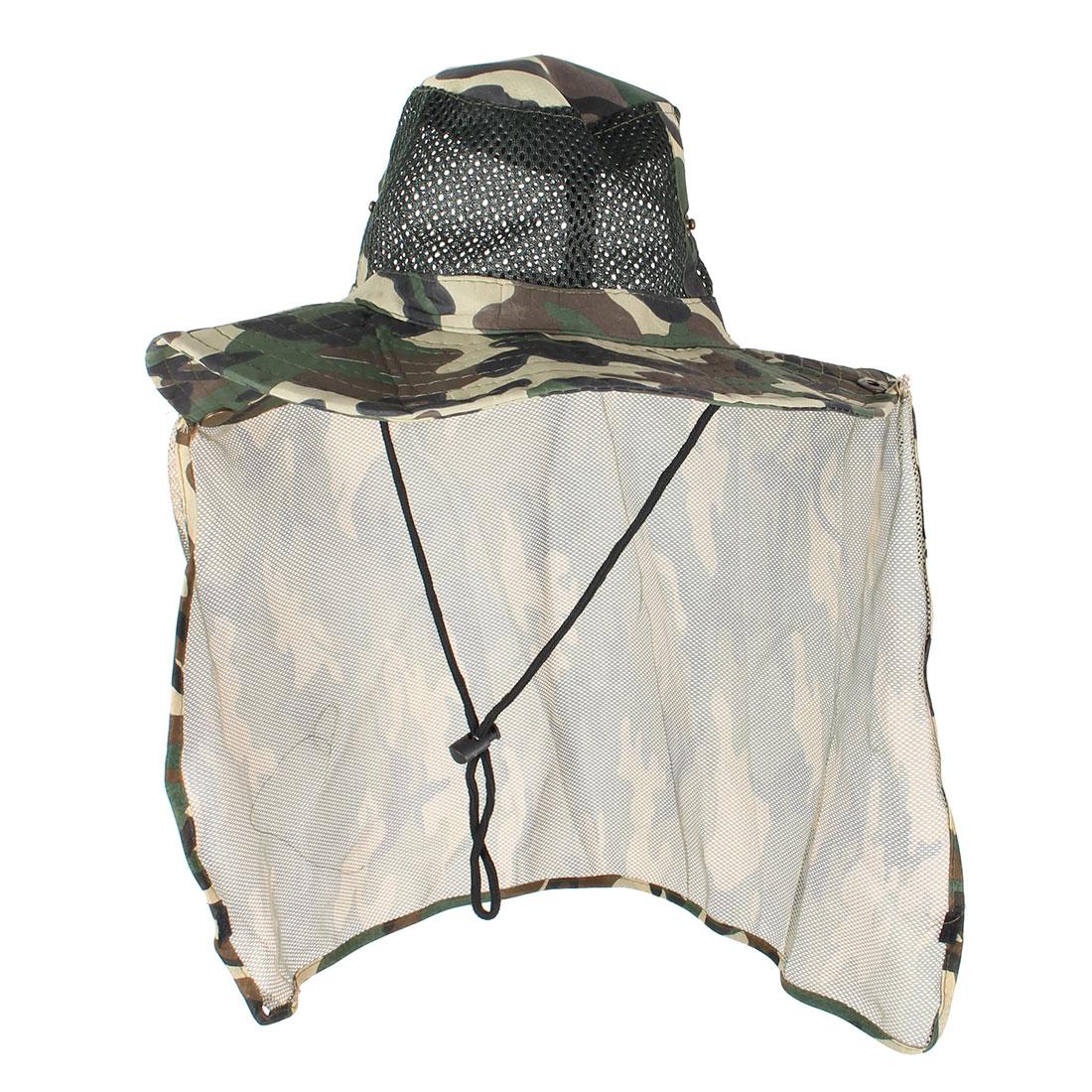 Unisex Camouflage Printed Mesh Design Sunbonnet Fishing Hat Cap