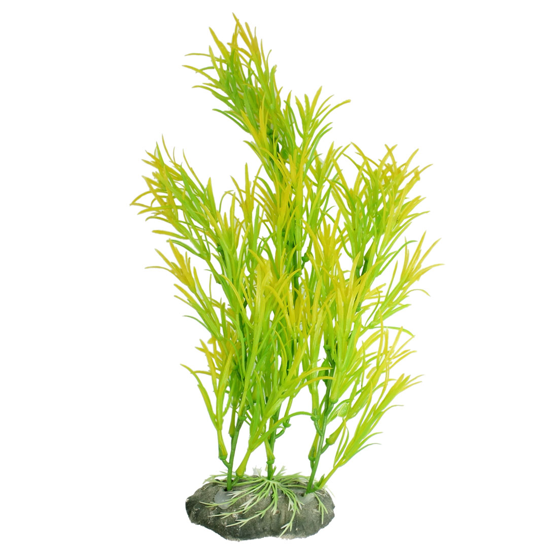 "12.5"" Height Plastic Yellow Green Leaf Underwater Plant Fish Tank Ornament"