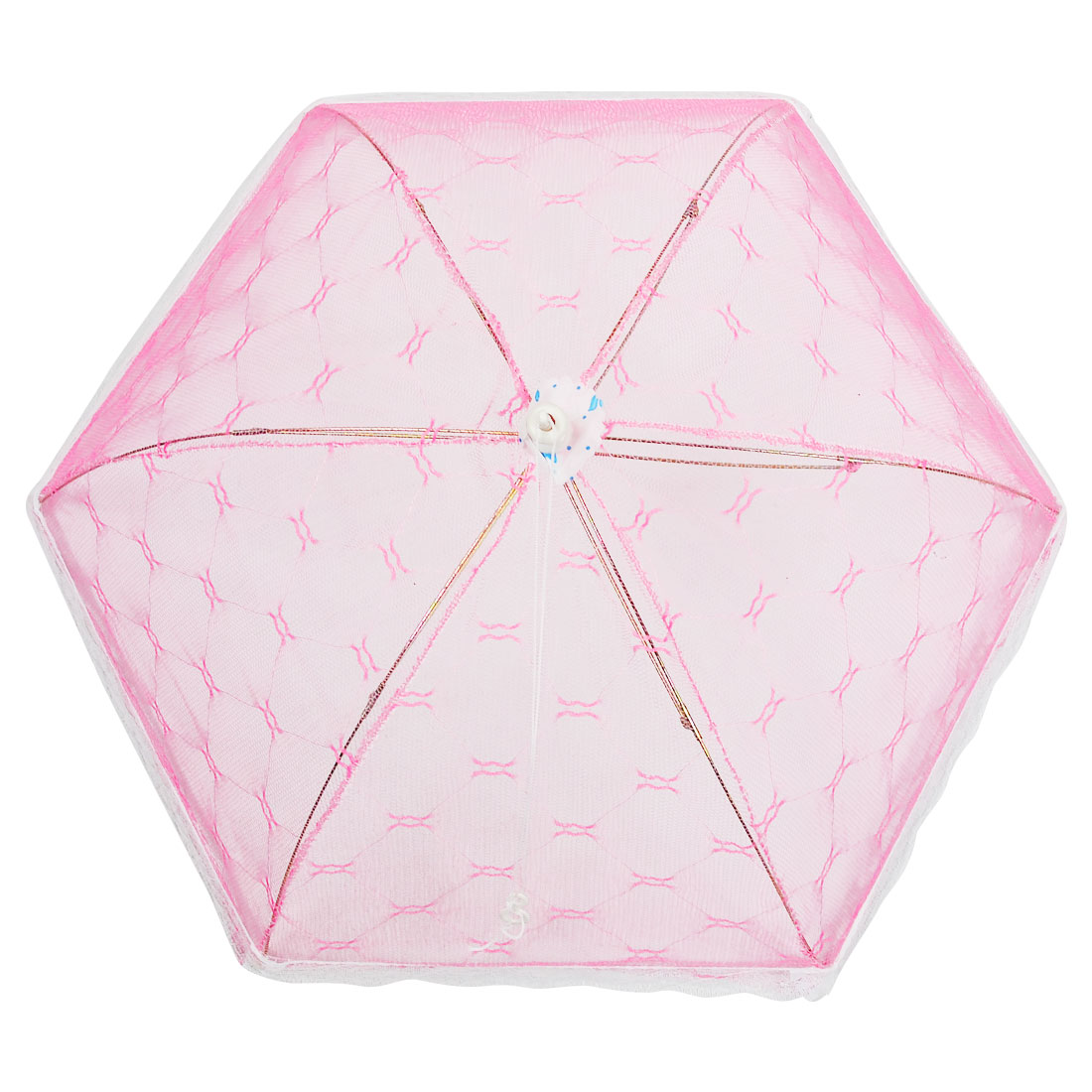 Kitchen Rhombus Pattern White Lace Trim Pink Foldable Food Cover Umbrella