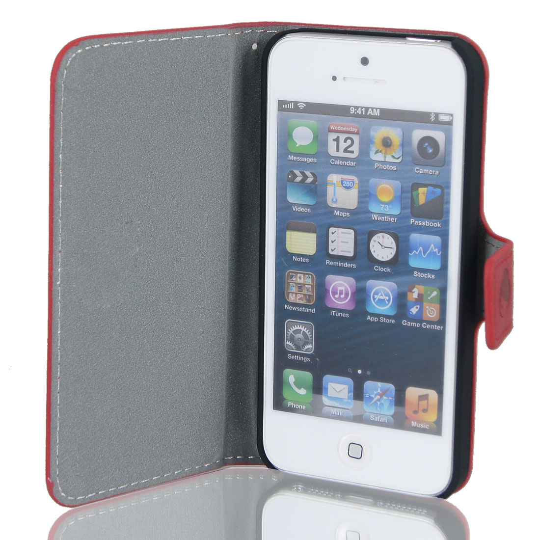 Magnetic Flip Red Cartoon Faux Leather Case Cover Pouch for iPhone 5 5G 5th Gen