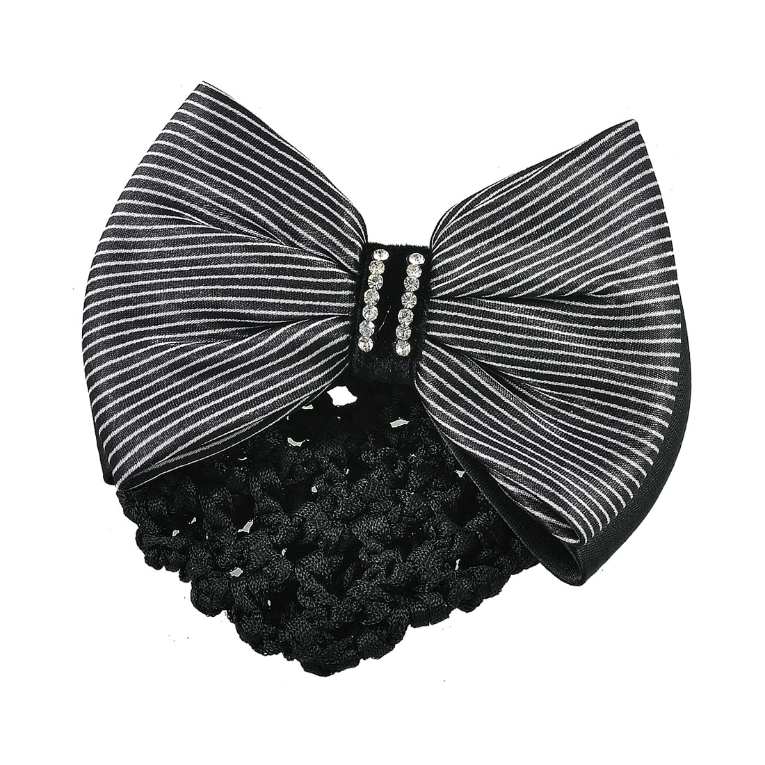 Lady White Black Stripes Print Dual Tiers Bowknot Hair Clip Snood Net Barrette