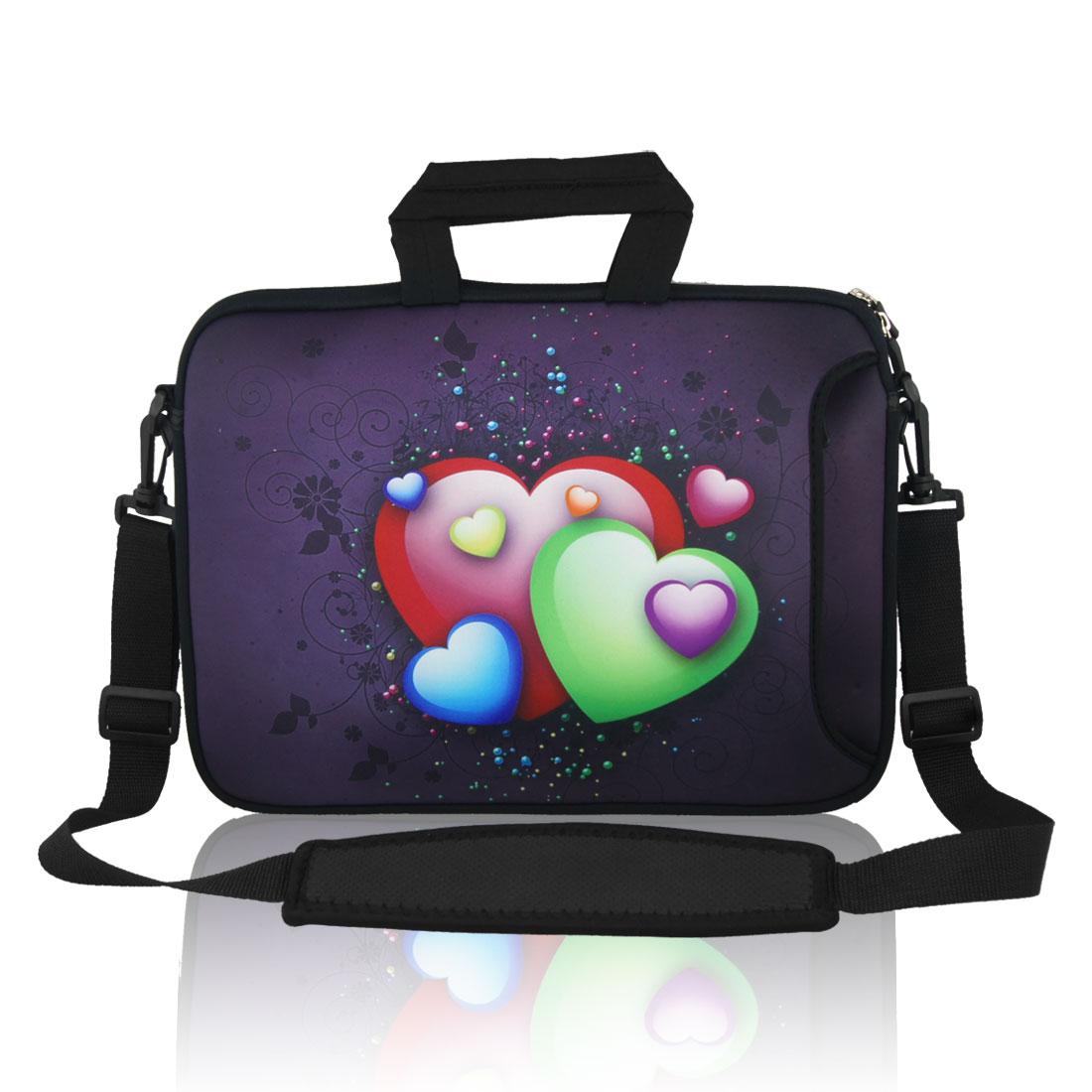 """13"""" 13.3"""" Heart Notebook Laptop Sleeve Handbag Case w Shoulder Strap for Asus HP"""