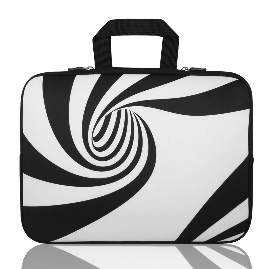 "15"" 15.4"" 15.6"" Black White Swirl Laptop Sleeve Handle Bag Pouch for Asus"