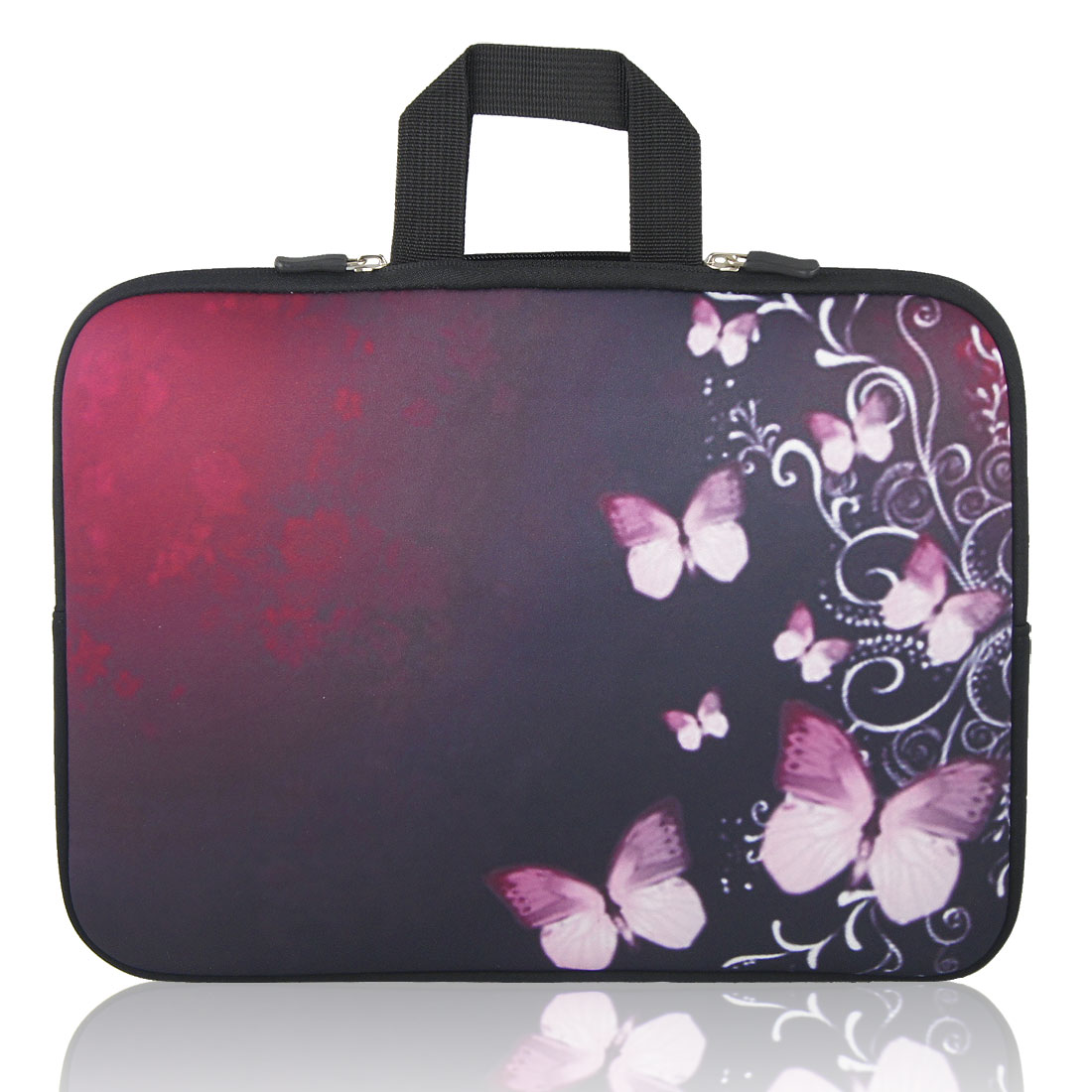 "15"" 15.4"" 15.6"" Pink Butterfly Black Burgundy Notebook Laptop Sleeve"
